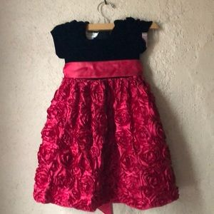 Other - Xmas girls black red roses dress 4T